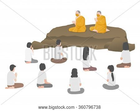 Sermon, People Listening To Dharma, Monks Teach And Talk, Social Distancing, Keep Distance For Infec