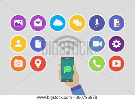 Online Messaging App Service Icon Using A Smart Phone Device. Application Technology From Multimedia