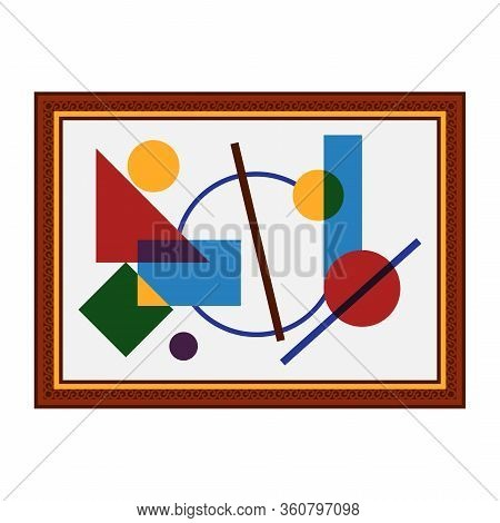Picture Brown Frame Icon Cubism Abstract Isolated On White Background. Vector Illustration