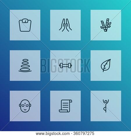 Relax Icons Line Style Set With Spa Stones, Yoga Pose, Leaf And Other Praying Hands Elements. Isolat