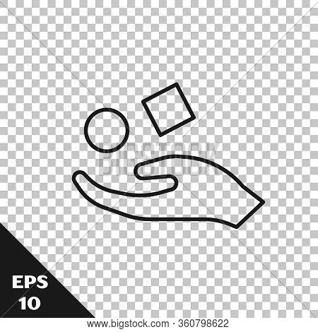 Black Line Cube Levitating Above Hand Icon Isolated On Transparent Background. Levitation Symbol. Ve