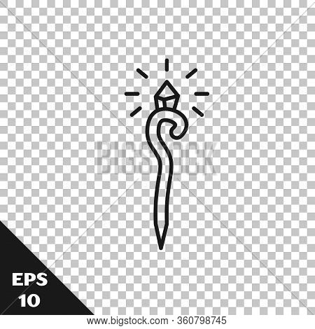 Black Line Magic Staff Icon Isolated On Transparent Background. Magic Wand, Scepter, Stick, Rod. Vec