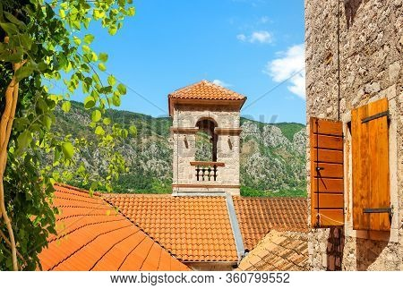 Saint Francis Monastery. Saint Francis Bell Tower At The Old Town Of Kotor In Montenegro