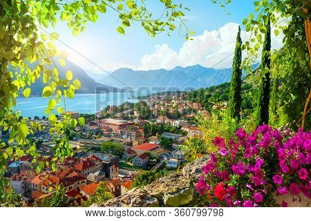 Picturesque Sea View Of Boka Kotor Bay, Montenegro, Kotor Old Town