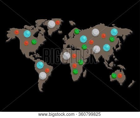 World Map Of Covid-19. Coronavirus Spread To Every Country Around The World. The Global Update The O