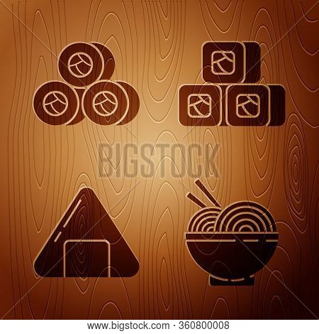 Set Asian Noodles In Bowl And Chopsticks, Sushi, Sushi And Sushi On Wooden Background. Vector