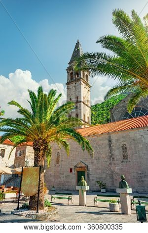 Montenegro. View Of Ancient Town Of Perast And Church Of St. Mark
