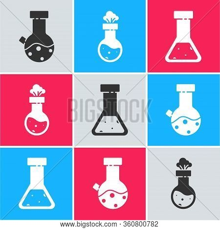 Set Test Tube And Flask Chemical, Test Tube And Flask Chemical And Test Tube And Flask Chemical Icon