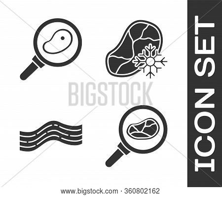 Set Steak Meat In Frying Pan, Steak Meat In Frying Pan, Bacon Stripe And Fresh Frozen Steak Meat Ico
