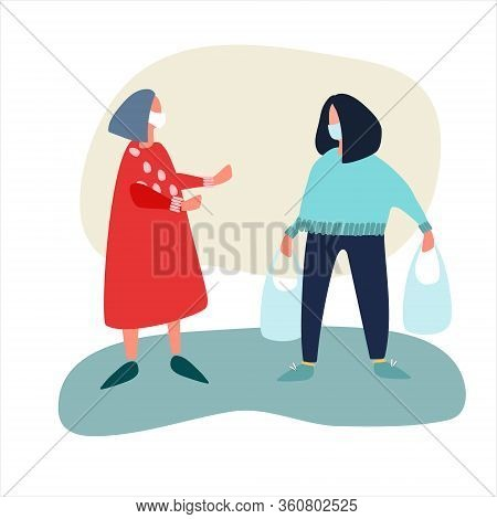 Female Volunteer Helps Elderly Woman With Shopping. Social Work During Quarantine Concept. Covid-19