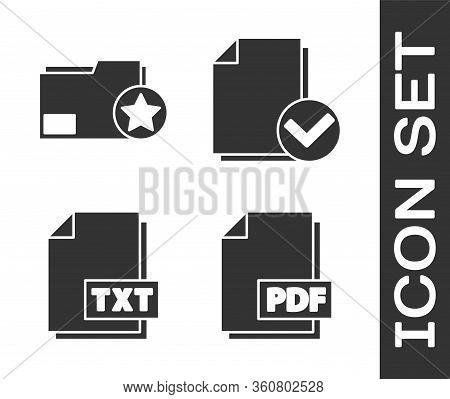 Set Pdf File Document, Document Folder With Star, Txt File Document And Document And Check Mark Icon