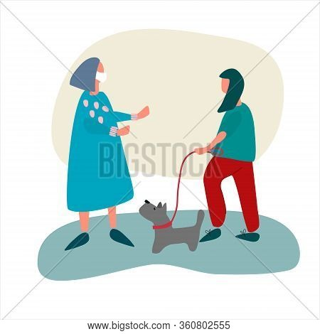 Female Volunteer Helps Old Woman With Dog Walking. Social Work During Quarantine Concept. Covid-19 A
