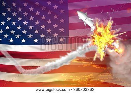 Usa Intercepted Supersonic Missile, Modern Antirocket Destroys Enemy Missile Concept, Military Indus