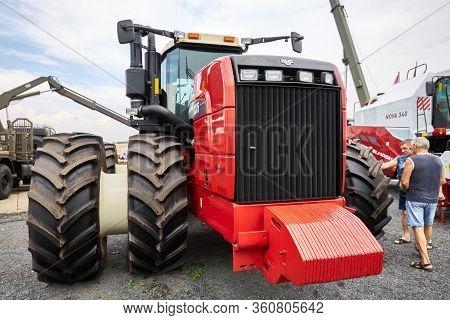 Sambek, Rostov Region, Russia, June 28, 2019: Modern Economic Rostselmash Rsm-2375 Tractor With Powe