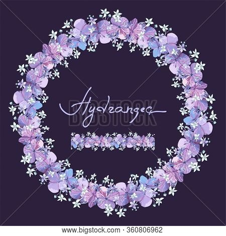 Floral Seamles Brush And Round Wreath With Purple Hydrangea Flowers With Bud On Dark Blue Background