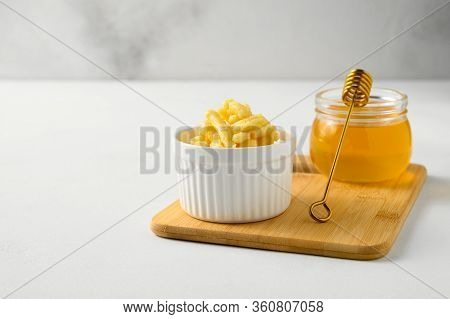 National Food Cuisine Of The Middle East. White Ramekin With Chak Chak And Honey In A Jar On A White