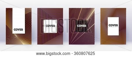 Hipster Brochure Design Template Set. Gold Abstract Lines On Bordo Background. Amazing Brochure Desi