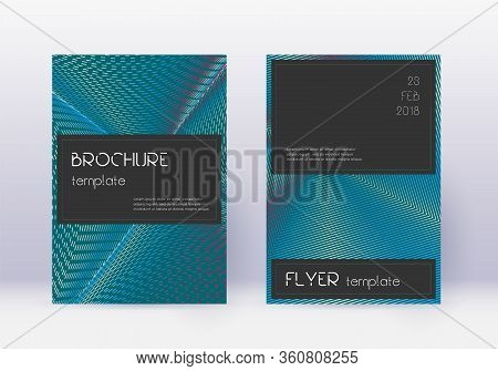 Black Cover Design Template Set. Red Abstract Lines On White Blue Background. Amusing Cover Design.