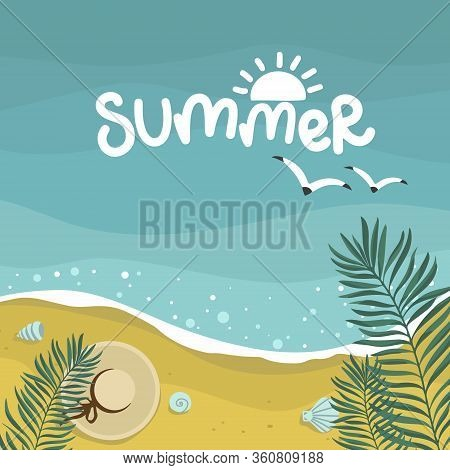 Summer Sea With Waves Background, Palm Leaves, Starfish Mollusks, Beach Yellow Sand, Vector Design T