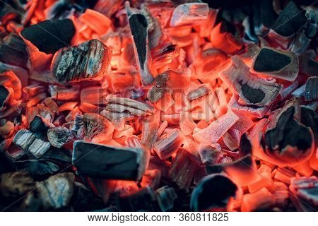 Burning Coals. Decaying Charcoal. Texture Embers Closeup. Burning Charcoal In The Background. Burnin