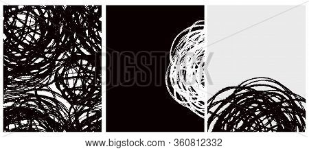 Abstract Hand Drawn Childish Vector Pattern And 2 Layouts. Grunge Sketched Scribbles Isolated On A W