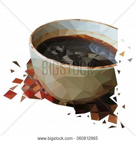 Low Poly White Cup Of Coffee. A Cup Of Americano Coffee In The Low Poly Style On A Table With A Mosa
