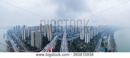 Dec 20, 2019 - Chongqing, China: Aerial Drone Shot Of Caiyuanba Bridge Over Jialing River