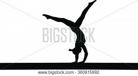 Girl Gymnast Handstand Exercise On Balance Beam. Isolated Black Silhouette