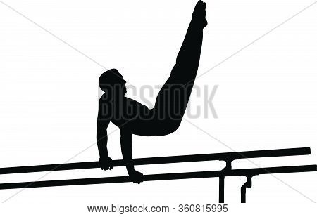 Athlete Gymnast Exercise On Parallel Bars. Isolated Black Silhouette