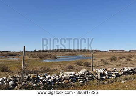 Great Plain Grassland Landscape On The Island Oland In Sweden