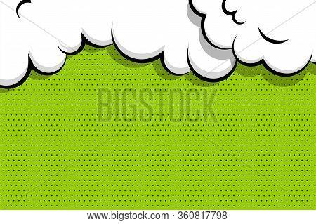 Comic Book Cartoon Speech Bubble For Text. Cartoon Puff Cloud Green Background For Text Template. Po