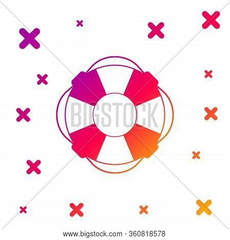 Color Lifebuoy Icon Isolated On White Background. Lifebelt Symbol. Gradient Random Dynamic Shapes. V