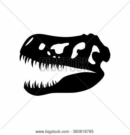 Dinosaur Skull Icon Isolated On A White Background, Tyrannosaurus Rex Head Fossil. Ancient Remains O