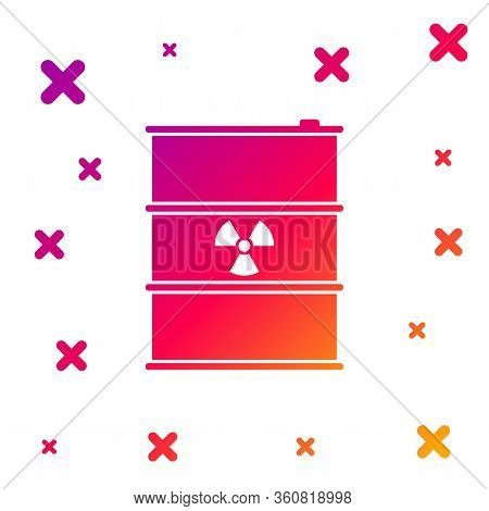 Color Radioactive Waste In Barrel Icon Isolated On White Background. Radioactive Garbage Emissions,