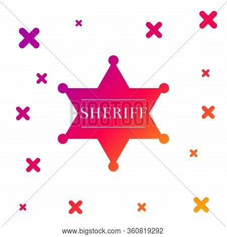 Color Hexagonal Sheriff Star Icon Isolated On White Background. Sheriff Badge Symbol. Gradient Rando