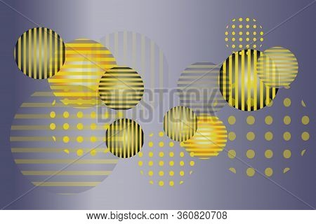 Round Spheres With Different Ornaments And Transparencies. Vector Pattern With 1980s Style In Golden