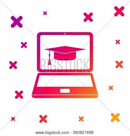 Color Graduation Cap And Laptop Icon Isolated On White Background. Online Learning Or E-learning Con