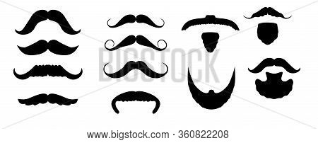Set Of Isolated Vector Facial Hair Style. Beards And Mustaches Types. Barber Big Collection. Silhoue