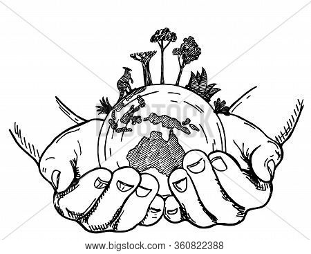 Hands Holding Earth Globe. Earth In Human Hands Isolated On A White Background, Sketch Style Vector