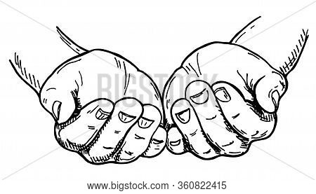 Hands Cupped Together. Sketch Vector Illustration Isolated On White Background. Hand Gesture