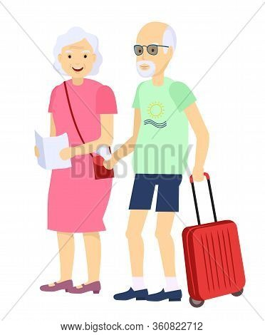Illustration Of An Elderly Couple Traveling Together With Luggage In Tow. Isolated Retired Couple On