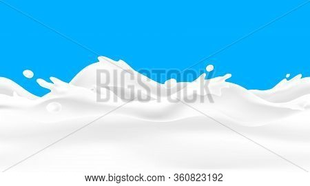 Milk Wave Background. Seamless Liquid Yoghurt Flow With Drops And Splashes, Realistic 3d Border For