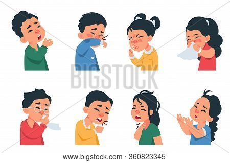 Sneezing Kids. Cartoon Boys And Girls Characters Coughing And Catching Flu, Coronavirus Disease Symp