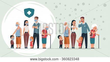 Sick And Healthy Family. Cartoon Healthy And Ill Characters With Symptoms Of Coronavirus, Pneumonia