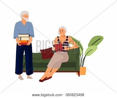Elderly Couple. Hand Drawn Old People Reading Book On Sofa. Vector Cartoon Illustration Characters L