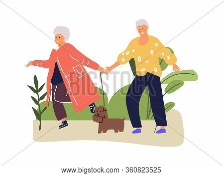 Senior Couple Walks In Park With Dog. Lovers Romantic Smile Couple In Autumn Time. Cartoon Vector El