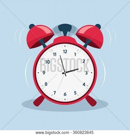 Alarm Clock. Cartoon Old Ringing Clock For Morning Alert. Vector Illustration Flat Wake Up Symbol Or