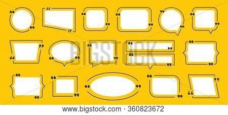 Quotation Box Frame. Quote Yellow Boxes Icon Set. Idea Frame Set. Vector Graphic Image Bubble Blog Q