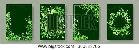 Watercolor Herb Twigs, Tree Branches, Flowers Floral Invitation Cards Collection. Herbal Frames Retr
