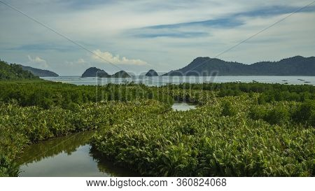 Puncak Mandeh Interesting Viewpoint Many Small Islands In Distance And Pristine Jungle Around In Wes